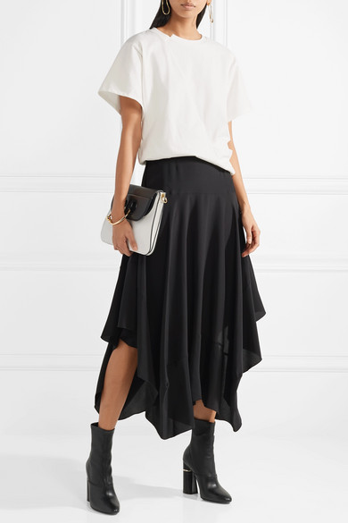 best sneakers 2bbc3 2634f STELLA MCCARTNEY Asymmetric silk crepe de chine midi skirt